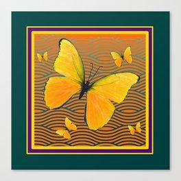 Dark Teal Yellow Butterflies Pattern Canvas Print