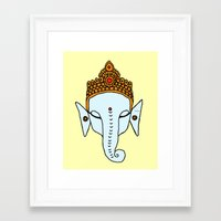 ganesha Framed Art Prints featuring Ganesha by RaJess