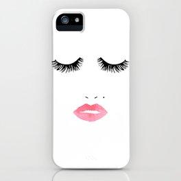 Printable Art,Makeup Print,Makeup Illustration,Lips Print,Lashes Art,Gift For Her,Bedroom Decor iPhone Case
