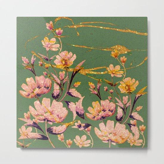 glittering pink flowers on green Metal Print