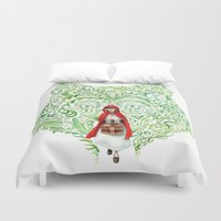 red riding hood Duvet Covers featuring Red Riding Hood by Stephane Lauzon