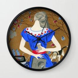 Lady in a blue dress Wall Clock