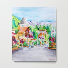 Vail Village Colorado Watercolor Metal Print