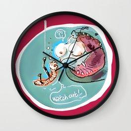 helpful fish bait earthworm cartoon Wall Clock