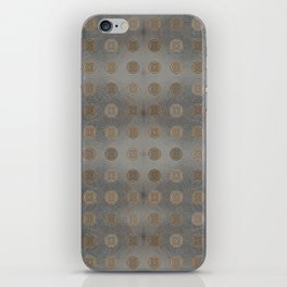 Lace Coin Polka Dots Pattern with Silver Leaf Background iPhone Skin