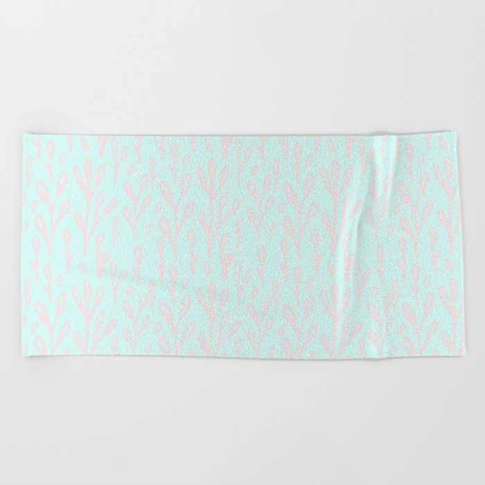 Merry christmas- abstract winter pattern with pink branch and snow Beach Towel