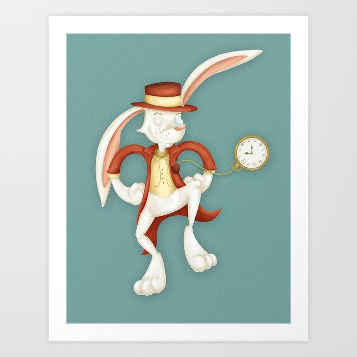 Mr. White Rabbit Art Print by khatii | Society6