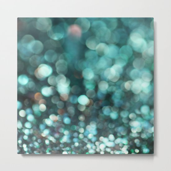 MERMAID GLITTER EMERALD Metal Print