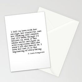 I fell in love with her courage - F Scott Fitzgerald Stationery Cards