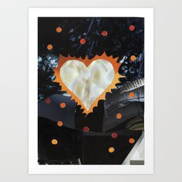 Biker Flaming Heart Valentine Art Print