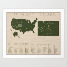 US National Parks - Colorado Art Print