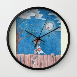 Sometimes even the moon is laughing Wall Clock
