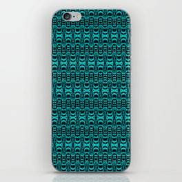 Abstract Pattern Dividers 07 in Turquoise Black iPhone Skin