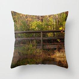 Bridge Over Peaceful Water Throw Pillow