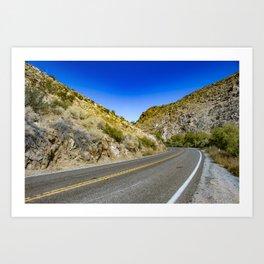 Highway Road Cutting through the Mountains in the Anza Borrego Desert, California, USA Art Print