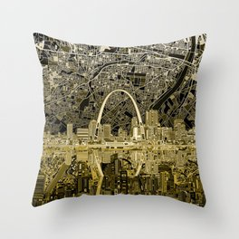 st louis city skyline map Throw Pillow