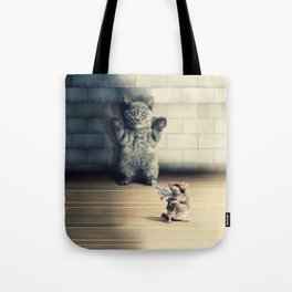 Funny Cat Scared Of A Mouse With Firearm Tote Bag