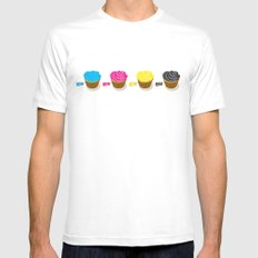 CMYK cupcakes MEDIUM White Mens Fitted Tee