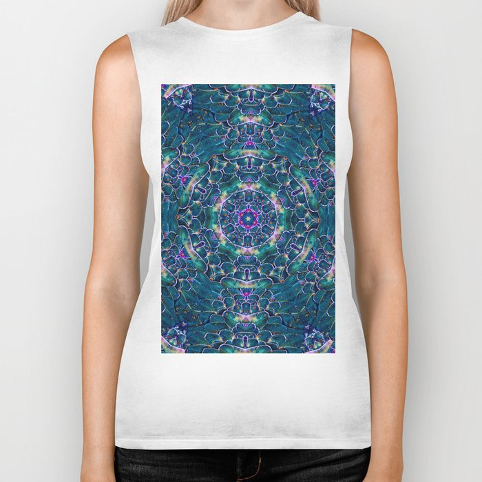 Blue butterfly wings mandala Biker Tank