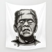 frankenstein Wall Tapestries featuring Frankenstein by Patricia Pedroso