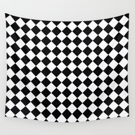Black And White Diamonds-Checkered Wall Tapestry