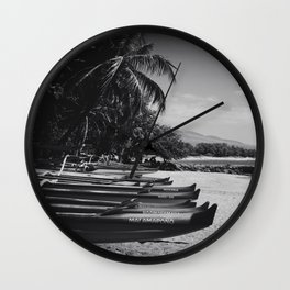 Sugar Beach Hawaiian Outrigger Canoes Kihei Maui Hawaii Wall Clock