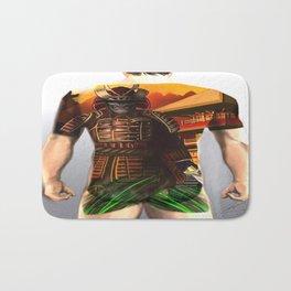 Samurai bodysuit tattoo design Bath Mat