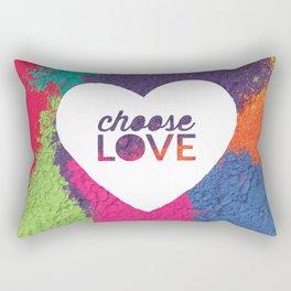 Choose Love Heart Quote Print Rectangular Pillow