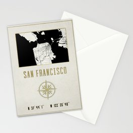 San Francisco - Vintage Map and Location Stationery Cards