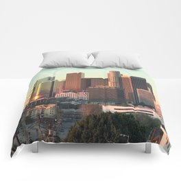 Los Angeles skyline at dawn Comforters