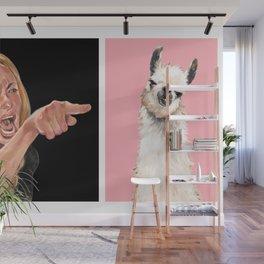Woman Yelling at Llama Wall Mural