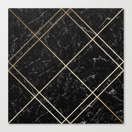Gold & Black Marble 02 Canvas Print