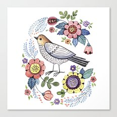 Romantic singing bird with flowers Canvas Print