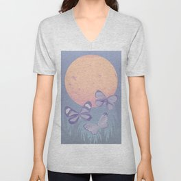 Moonrise Meadow Butterflies Unisex V-Neck