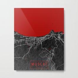 Muscat City Map of Oman - Oriental Metal Print