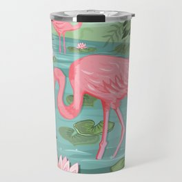 Flamingo and Waterlily Travel Mug