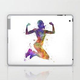 Woman runner jogger jumping powerful Laptop & iPad Skin