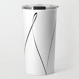 """ Singles Collection "" - One Line Minimal Letter N Print Travel Mug"