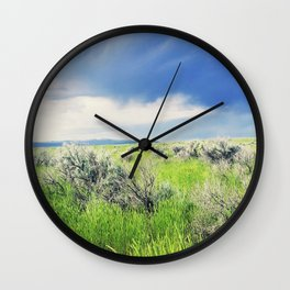 Sagebrush Steppe Before the Storm Wall Clock