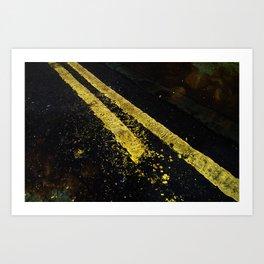 Yellow lines Art Print