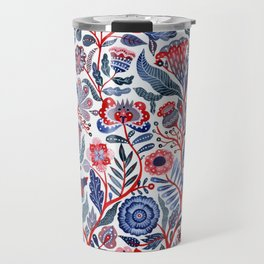 Botanical in red and blue Travel Mug