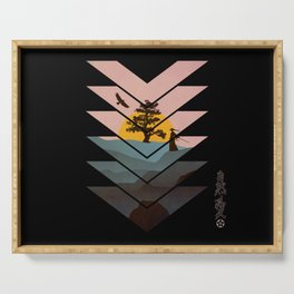 Geometric Nature Love Of A Peacful Warrior Serving Tray