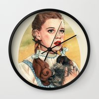kansas Wall Clocks featuring I Don't Think We're In Kansas Anymore by Helen Green
