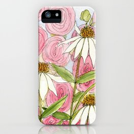 Pink Hollyhock and White Coneflower Garden Flowers iPhone Case