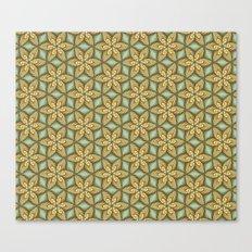 Flower pattern green/yellow Canvas Print