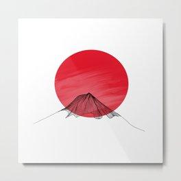 Red sun linear mountain Metal Print