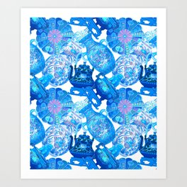 China Cabinet Toss in Blue Pottery + Porcelain White Art Print