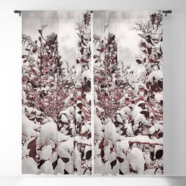 Fresh Snow On Red Leaves Blackout Curtain