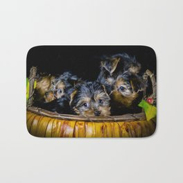 Halloween Pumpkin Basket Filled with Five Yorkshire Terrier Puppies Bath Mat