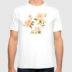 Magnolia Pattern White Mens Fitted Tee MEDIUM